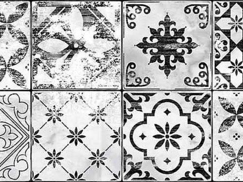 WHITES patchwork matt white/black 25,5×75,5