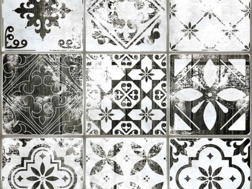 PATTERN patchwork white/black 45×45